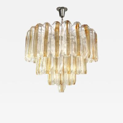 Venini Three Tier Venini Clear and Amber Glass Chandelier 4 Chandeliers Available