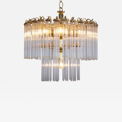 Venini Two Tier Glass and Brass Chandelier in the Manner of Venini