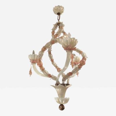 Venini Two Toned Venini Glass Chandelier