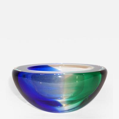 Venini Venini 1970s Italian Murano Glass Geometric Cobalt Blue Yellow Green Red Bowls