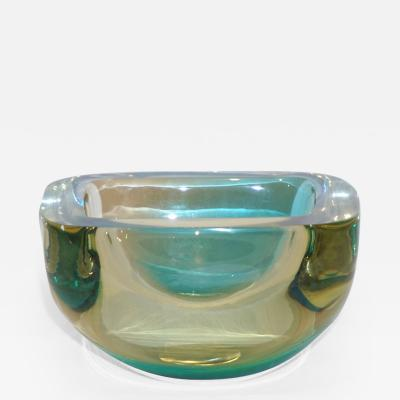 Venini Venini 1970s Italian Murano Glass Geometric Yellow and Aqua Green Bowl