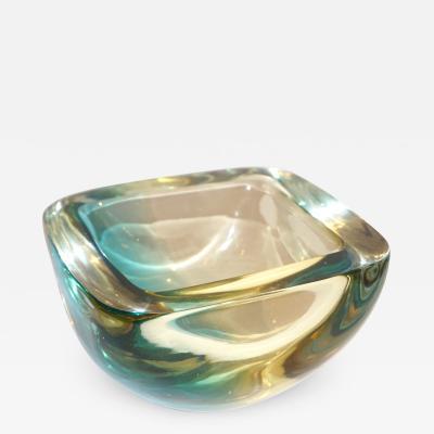 Venini Venini 1970s Italian Square Golden Yellow and Acqua Green Murano Glass Bowl