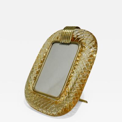 Venini Venini 1970s Italian Vintage Amber Gold Murano Glass and Brass Photo Frame