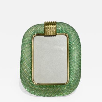 Venini Venini 1970s Italian Vintage Green Gold Murano Glass and Brass Photo Frame