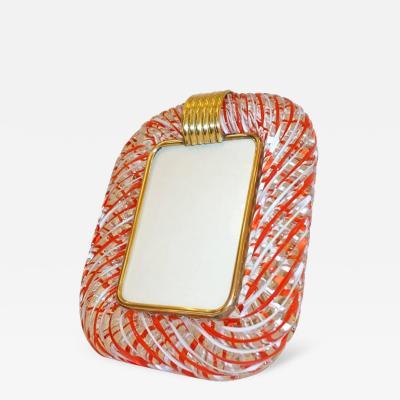 Venini Venini 1970s Vintage Italian Red White and Crystal Murano Glass Photo Frame
