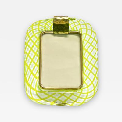 Venini Venini 1970s Vintage Yellow and Green Chartreuse Murano Glass Picture Frame