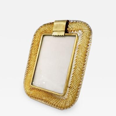 Venini Venini 1980s Italian Vintage Tall Amber Gold Murano Glass and Brass Photo Frame