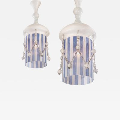 Venini Venini Attributed Pair of Rare Lattimo and Filigrana Glass Lanterns