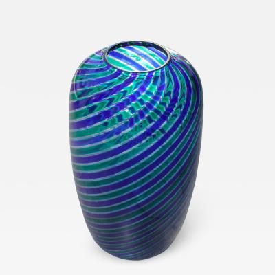 Venini Venini Murano Glass Vase with Twisted Canes