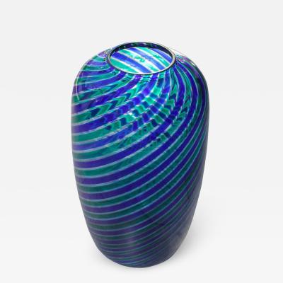Venini Venini Murano Glass Vase with Twisted Canes