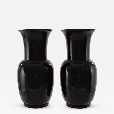 Venini Venini Pair of Signed Black Glass Urns 1978