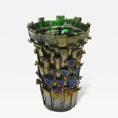 Venini Venini Ritagli 2010 Sculptural Iridescent Green Murano Glass Vase