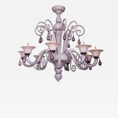 Venini Venini Style Lilac Murano Glass Chandelier