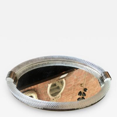 Venini Venini Style Murano Oval Twisted Glass Rope Vanity Tray Italy 1940s