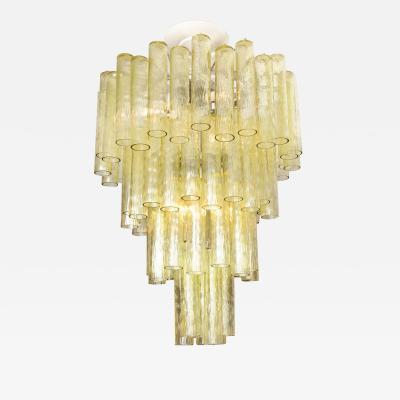 Venini Vintage Venini Champagne Tubular Glass Chandelier