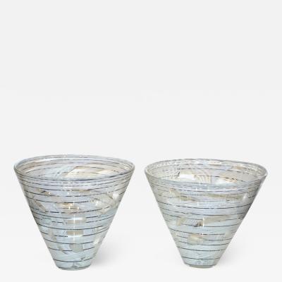 Venini Vintage Venini Pair of Crystal Murano Glass Vases with Black and White Murrine