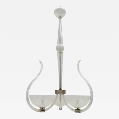Venini White Reticello Murano Glass Chandelier by Venini circa 1950