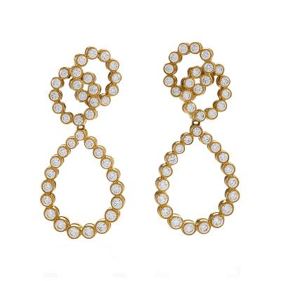 Verdura Gold Earrings with Diamonds by Verdura