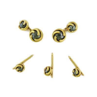 Verdura Hematite Gold Cufflinks Studs