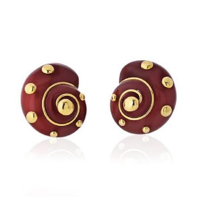 Verdura VERDURA 18K YELLOW GOLD CARNELIAN SHELL EARRINGS