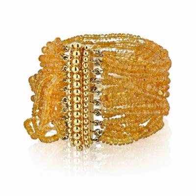 Verdura VERDURA 18K YELLOW GOLD MULTI BEAD CITRINE STRING BRACELET