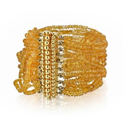 Verdura VERDURA 18K YELLOW GOLD MULTI BEAD CITRINE STRING BRACELET