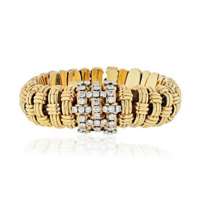 Verdura VERDURA 1950S 14K YELLOW GOLD LINK 4 50 CARAT DIAMOND WATCH AND BRACELET