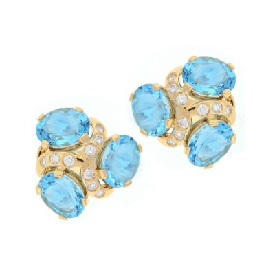 Verdura Verdura Blue Topaz Diamond Gold Three Stone Earrings