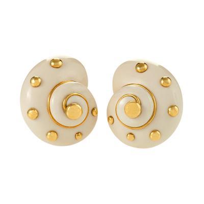 Verdura Verdura Cachalong Opal and Gold Snail Shell Earrings