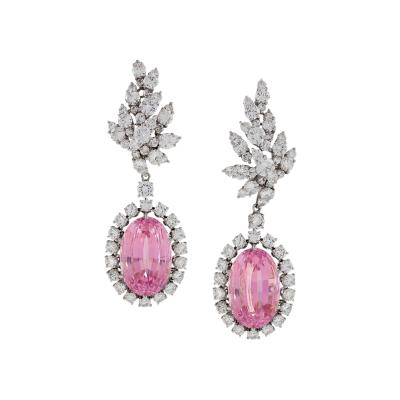 Verdura Verdura Late 20th Century Diamond Kunzite and Platinum Earrings