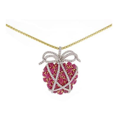 Verdura Verdura Wrapped Ruby Diamond Heart Brooch