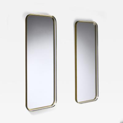 Vereinigte Werkst tten F r Kunst Im Handwerk Large Pair of Rectangular Brass and White Hallway Mirrors Germany 1950s