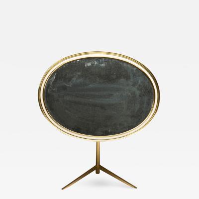 Vereinigte Werkst tten M nchen Mid Century Modern Oval Brass Table Mirror by Vereinigte Werkst tten