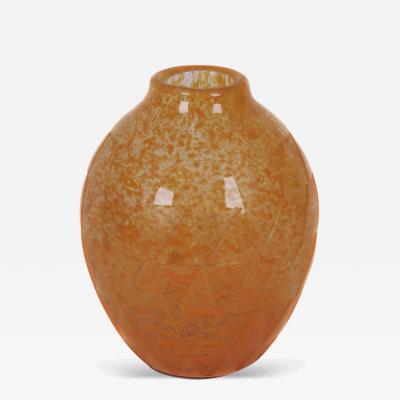 Verrerie d Art Degu French Art Deco Period Glass Vase by Degue