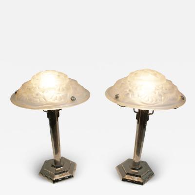 Verrerie d Art Degu Pair of French Art Deco Table Lamp Signed Degu