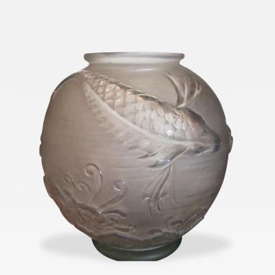 Verreries dArt Lorraine Signed Art Deco Lorraine Fish Bowl Vase
