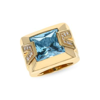 Versace VERSACE RECTANGULAR BLUE TOPAZ AND DIAMOND COCKTAIL RING 18K YELLOW GOLD