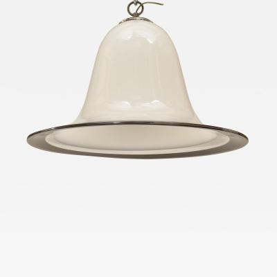 Vetri Murano Italian 1950s Bell Shaped White Glass Hanging Fixture