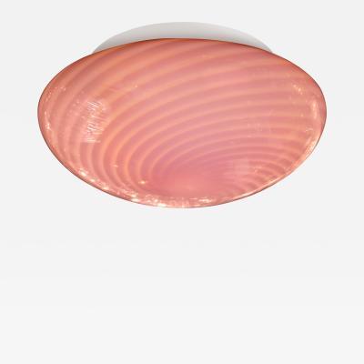 Vetri Murano Mid Century Modern Handblown Murano Pink Striated Swirl Flush Mount Signed Vetri