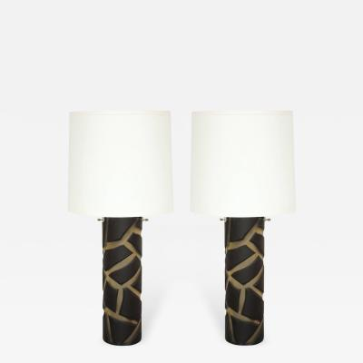 Vetri Murano Pair of Deep Cut Frosted Black and White Giraffe Vivarini Murano Glass Lamps