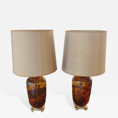 Vetri Murano Pair of Murano Glass Lamps Italy 1960s