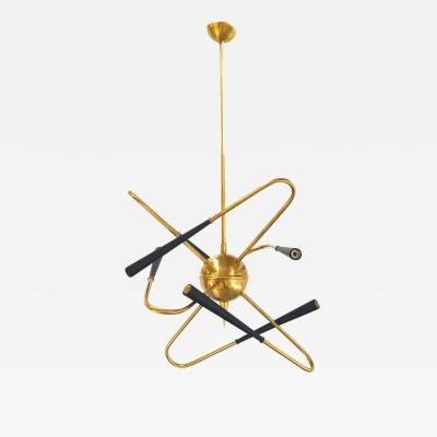 Vintage Domus Collection Chandelier in the Mi d Century style in brass new production 2019