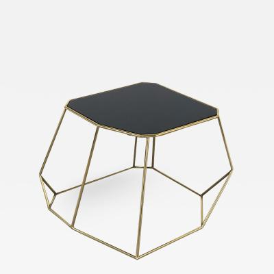Vintage Domus Collection Customizable coffee table in brass and crystal glass