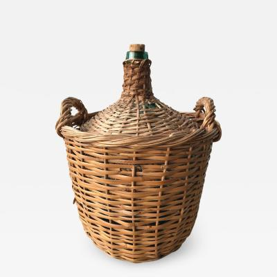Viresa Midcentury French Wicker Demijohn Bottle Basket