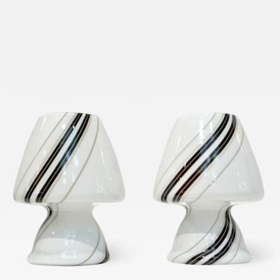 Vistosi 1970s Italian Pair of White Lamps with Black Gray Murrine Attributed to Vistosi