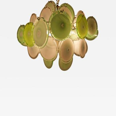 Vistosi Green Murano Disc Chandelier Attributed to Vistosi 1970s