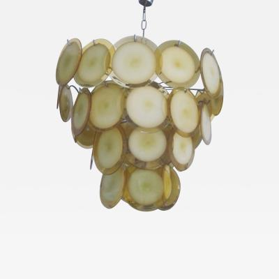 Vistosi Italian Midcentury Murano Venetian Glass Disc Chandelier Pendant by Vistosi