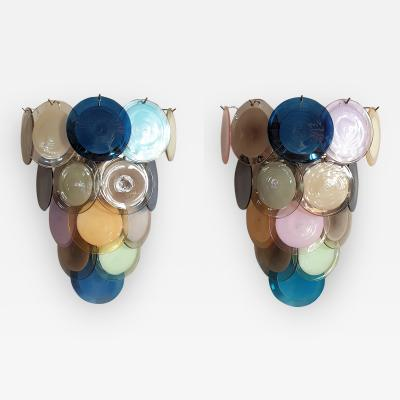 Vistosi Large Mid Century Modern Colorful Murano Glass Discs Sconces Vistosi Italy 70s