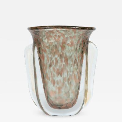 Vistosi Mid Century Handblown Murano Glass Vase with 24k Yellow Rose Gold by Vistosi