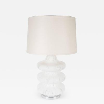 Vistosi Mid Century Mottled Frosted and Satin Murano TOTEM Table Lamp by Vistosi